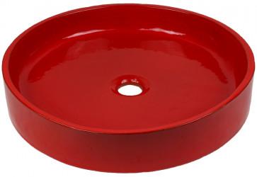 vasque artisanale à poser coquelicot