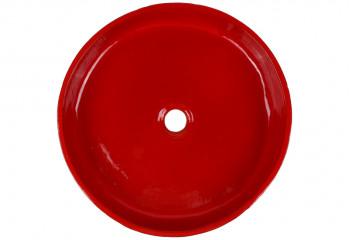 vasque à poser artisanale ronde rouge coquelicot