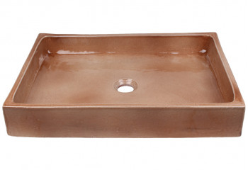 vasque à poser céramique rectangulaire beige