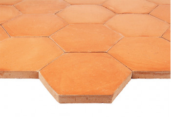 tomette terre cuite hexagonale rose