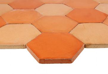 tomette terre cuite hexagonale trois couleurs