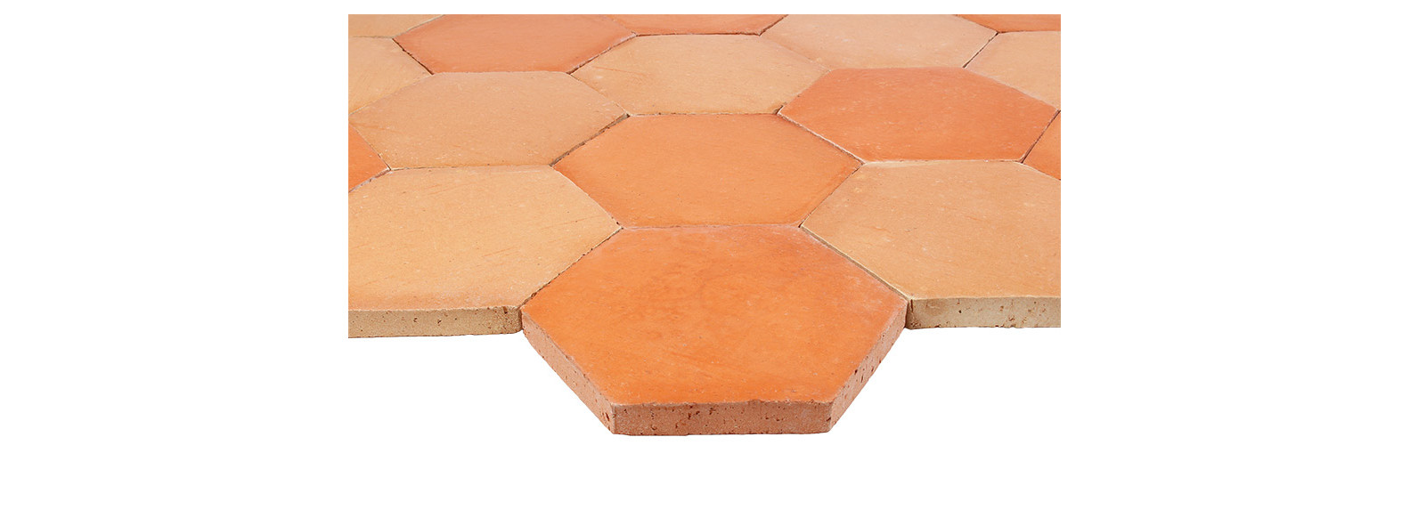 tomette terre cuite hexagonale beige rosé