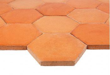 tomette terre cuite hexagonale rouge rosé
