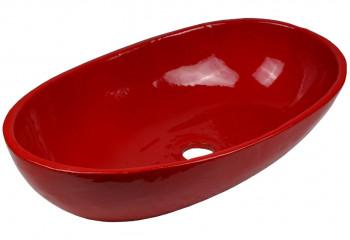 vasque a poser ceramique deco rouge
