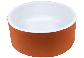 vasque a poser ronde terre cuite blanche