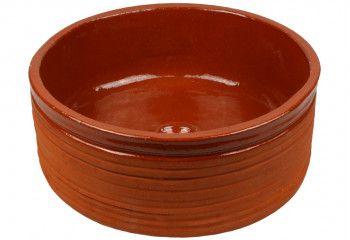 vasque a poser ronde striée en terre cuite naturelle