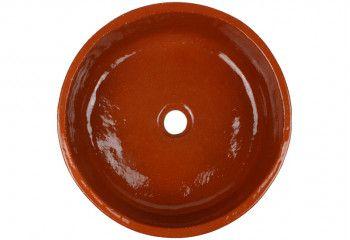 vasque a poser design en terre cuite naturelle
