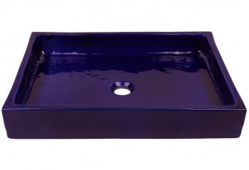 vasque à poser céramique rectangulaire bleue
