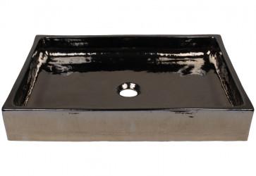 vasque à poser céramique rectangulaire noire