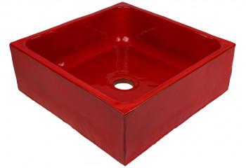 vasque a poser artisanale rouge