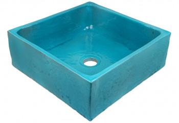 vasque a poser artisanale bleu