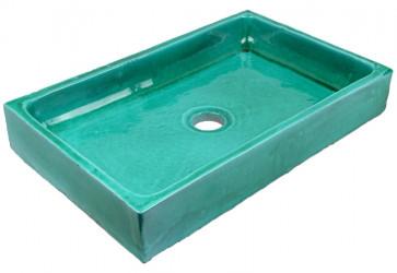 vasque a poser fait main turquoise