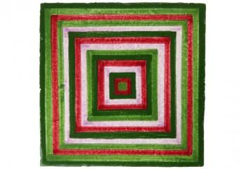 faïence à motif vert et rouge