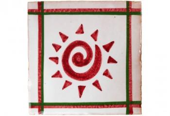 faience decor rouge et blanc