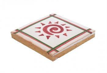 carrelage peint main rose et blanc