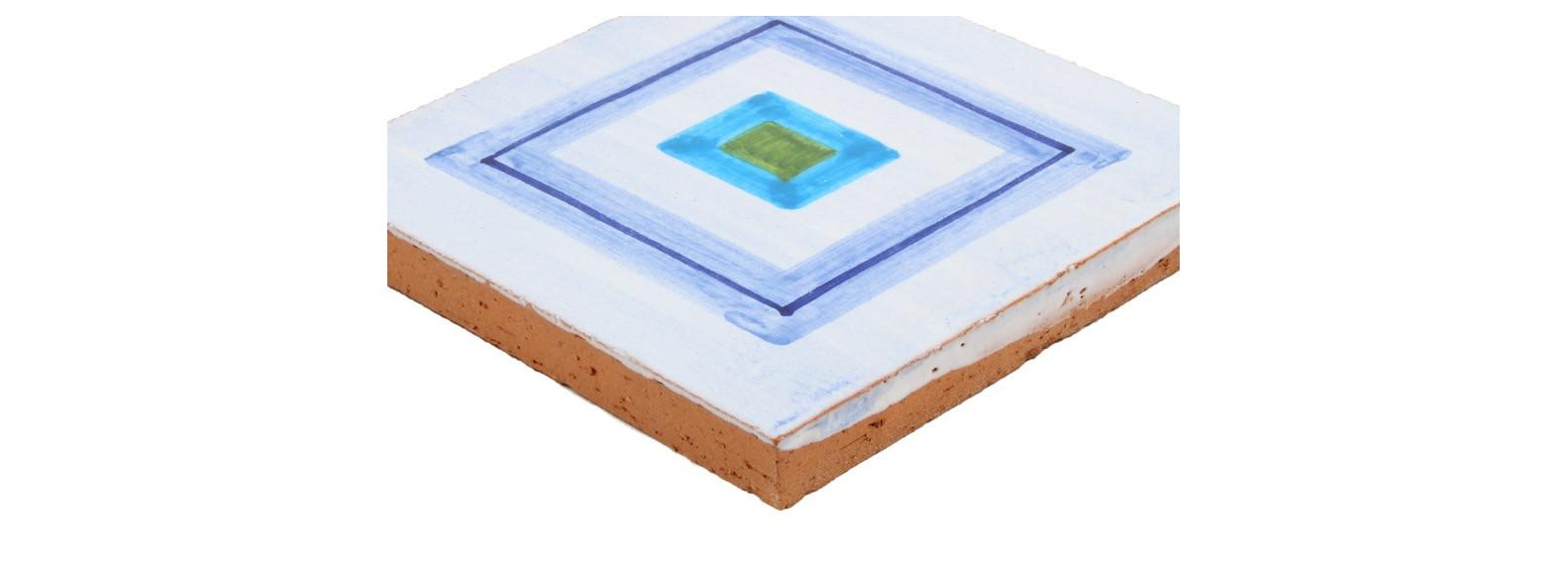 carrelage motif  carré bleu