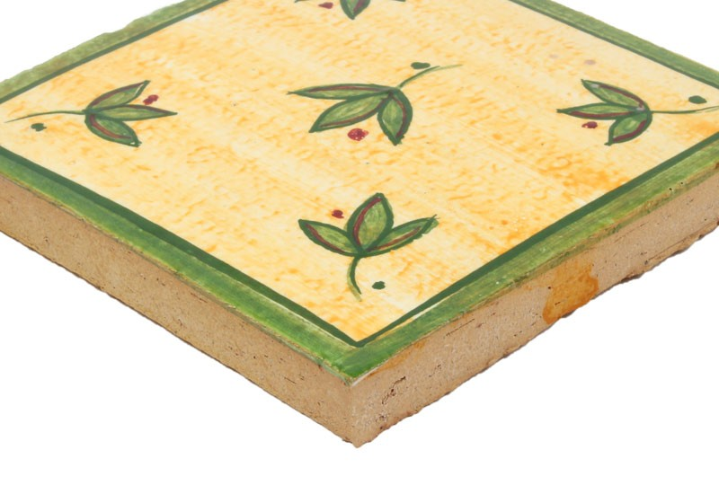 carrelage motif floral vert et jaune