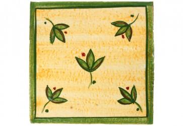 carrelage decor floral vert et jaune