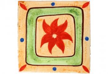 carrelage decor fleur rouge