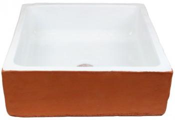 vasque a poser carre deux couleurs