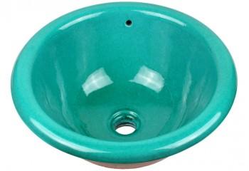 vasque a encastrer ronde bleu turquoise
