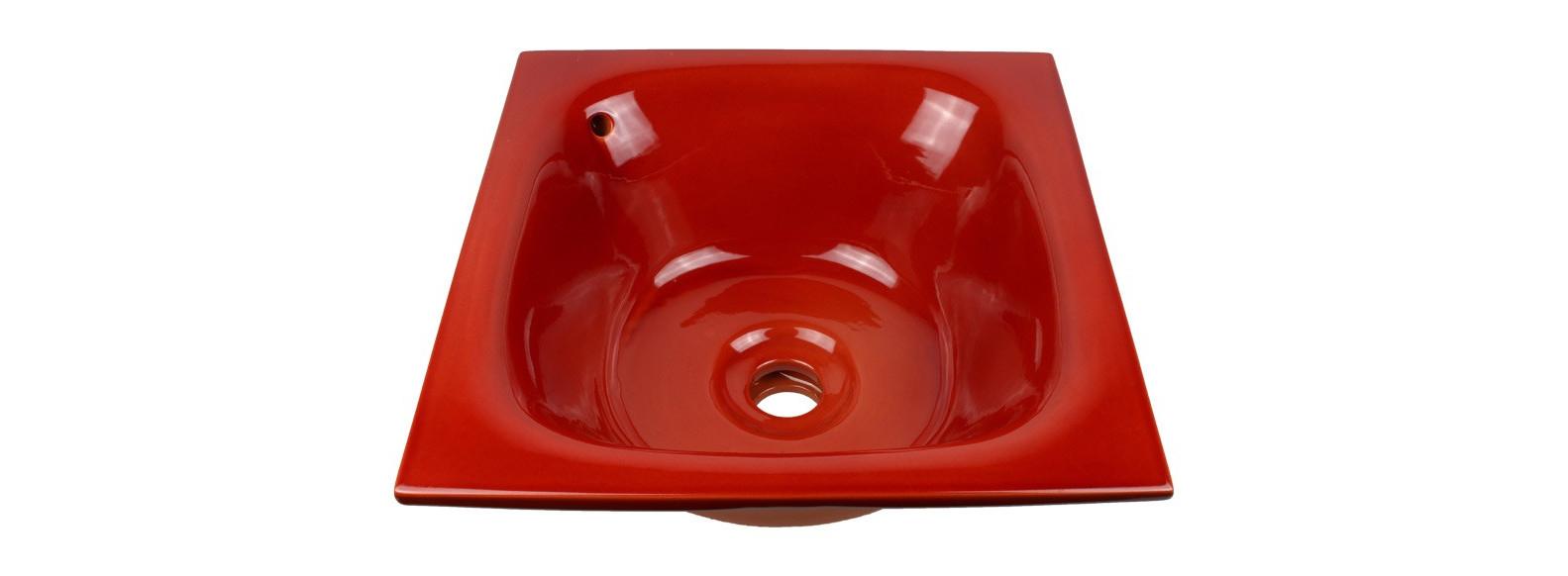 vasque a encastrer céramique rouge