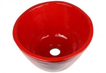 vasque a poser ceramique rouge