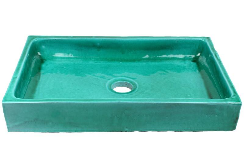 vasque a poser rectangulaire bleu turquoise