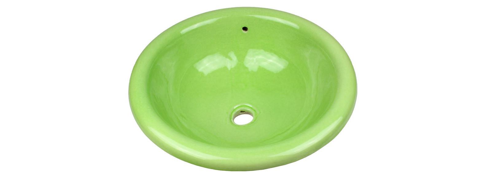 vasque a encastrer artisanale verte