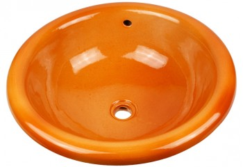 vasque a encastrer artisanale orange