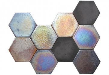tomette hexagonale effet metallique