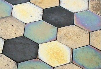 carrelage hexagonal aspect metal