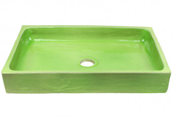 vasque a poser rectangulaire vert chlorophylle
