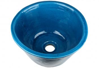 vasque a poser ceramique bleu