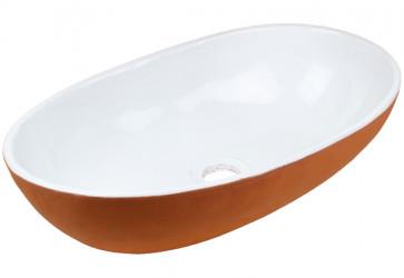 vasque a poser ceramique deco bicolore