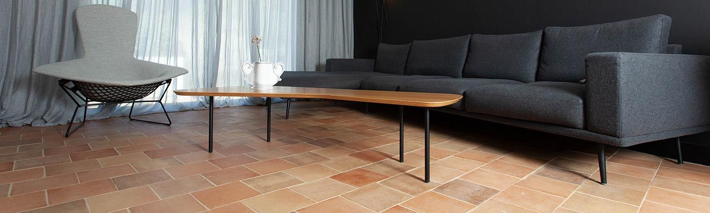 Hexagon and terracotta tiles : Smooth, Hand-added patina and Antique