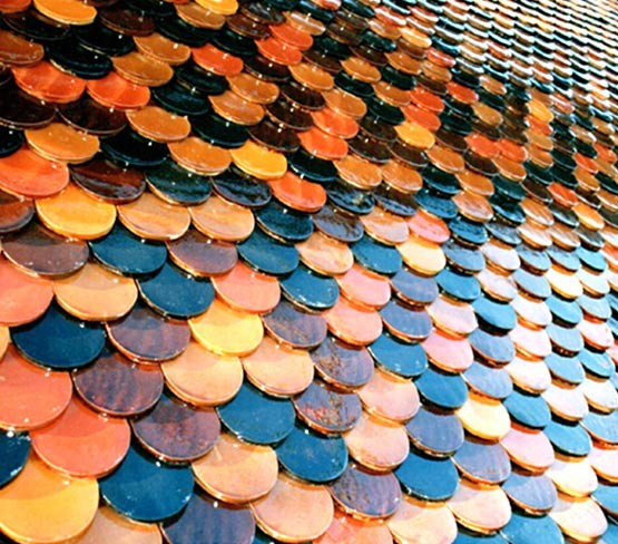 Glazed Fish Scale Roof Tile